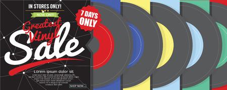 greatest: Greatest Vinyl Sale 500x600 Pixel Banner Vector Illustration