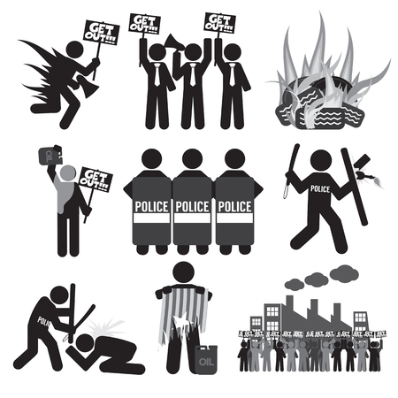 conflictos sociales: S�mbolo negro protesta Icono Conjunto de ilustraci�n vectorial