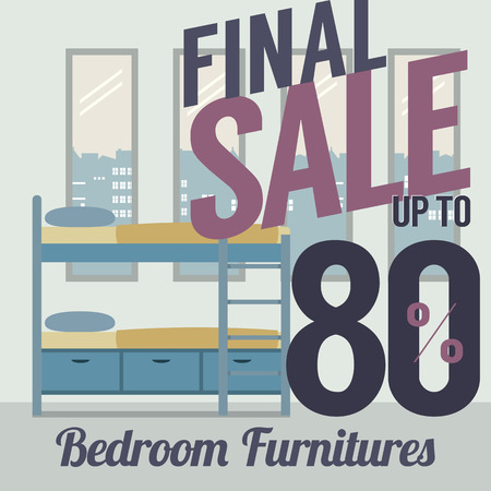 bunk bed: Furniture  Sale Up to 80 Percent Vector Illustration
