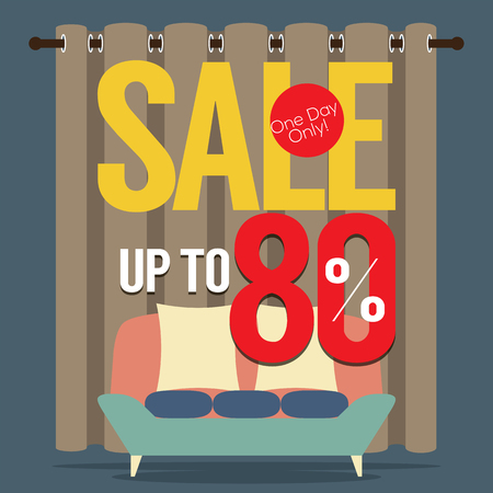 80: Furniture  Sale Up to 80 Percent Vector Illustration