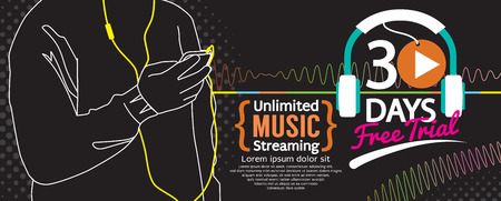 streaming: 30 Days Free Trial Music Streaming 1500x600 Banner Vector Illustration