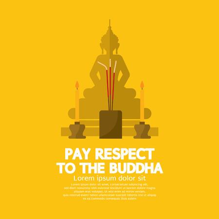 respetar: Pagar respecto a la ilustración vectorial de Buda