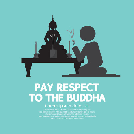 buddhist: Pay Respect To The Buddha Vector Illustration Illustration