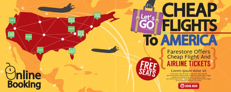 airplane ticket: Cheap Flight To America 1500x600 Banner Vector Illustration Illustration