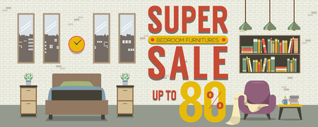 wide: Furniture Super Sale Up to 80 Percent 6250x2500 Pixel Banner Vector Illustration