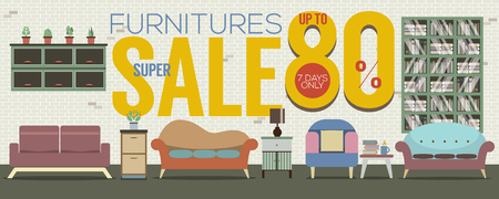 vintage furniture: Furniture Super Sale 6250x2500 Pixel Banner Vector Illustration