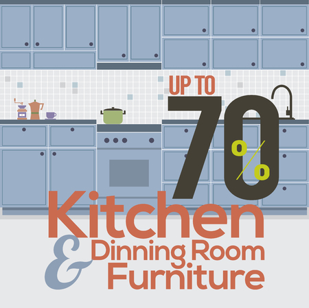 house clearance: Kitchen Room Sale Up to 70 Percent Banner Vector Illustration