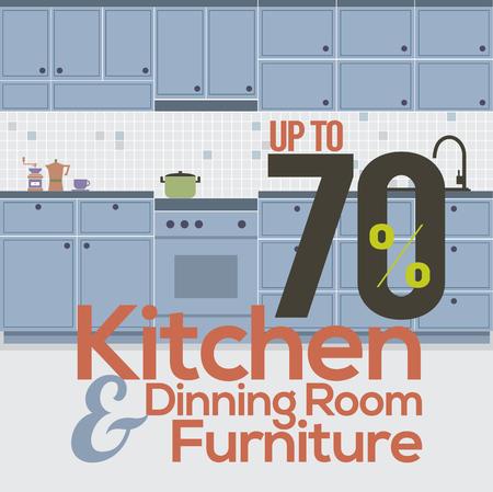 Kitchen Room Sale Up to 70 Percent Banner Vector Illustration