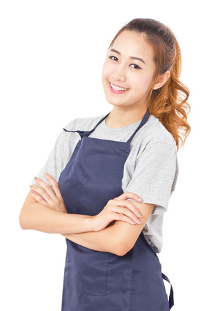 Young Woman Wearing Apron Isolated On White.