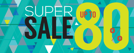 wide: Modern Banner Super Sale Up to 80 Percent 6250x2500 Pixel Vector Illustration