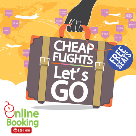 cheap: Cheap Flights Banner Vector Illustration Illustration