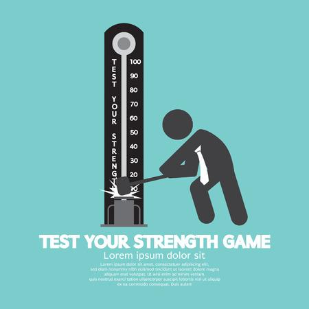 tester: Test Your Strength Game Symbol Vector Illustration Illustration