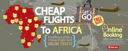 vector banner: Cheap Flight To Africa 1500x600 Banner Vector Illustration