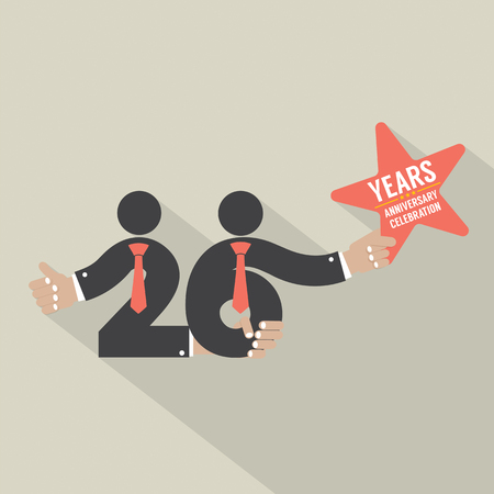 twenty six: 26 Years Anniversary Typography Design Vector Illustration Illustration