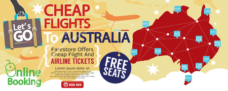 cheap: Cheap Flight To Australia 1500x600 Banner Vector Illustration Illustration