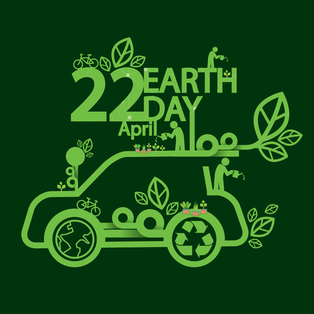 ecologic: Earth Day Ecologic Driving Concept Vector Illustration Illustration
