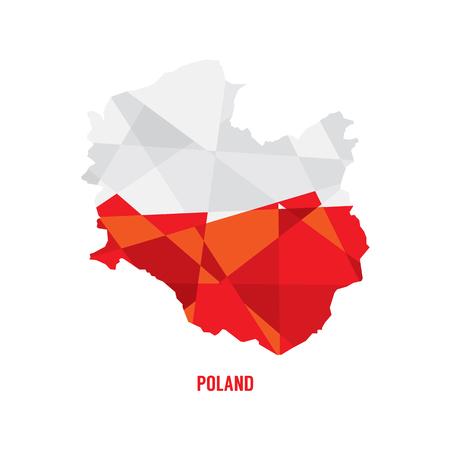 bandera de polonia: Mapa de la ilustración del vector de Polonia