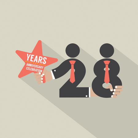 28: 28 Years Anniversary Typography Design Vector Illustration