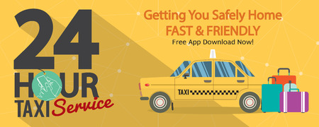 yellow taxi: 24 Hour Taxi Service 1500x600 Pixel Banner Vector Illustration Illustration