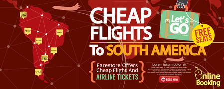 cheap: Cheap Flight To South America 1500x600 Banner Vector Illustration