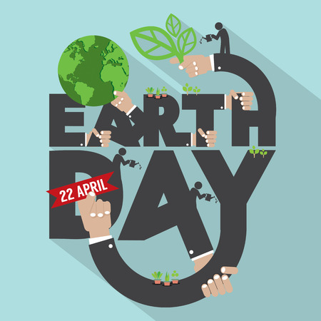 Earth Day Typography Design Vector Illustration