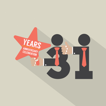 31st: 31st Years Anniversary Typography Design Vector Illustration