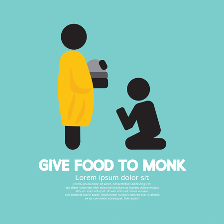 alms: Give Alms To Monk Symbol Vector Illustration