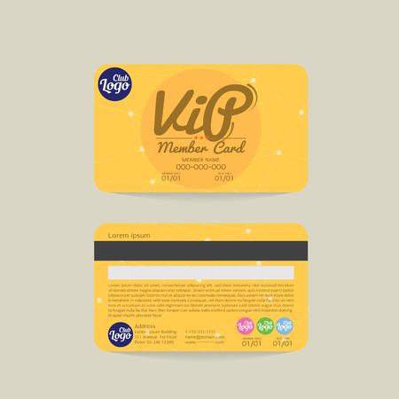 Ilustración de la tarjeta frontal y posterior Miembro VIP plantilla de vectores Ilustración de vector