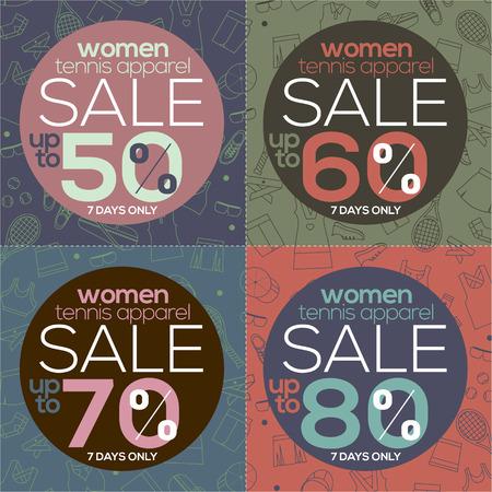 apparel: Women Tennis Apparel Sale Vector Illustration