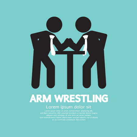 arm of a man: Businessman Arm Wrestling Symbol Vector Illustration