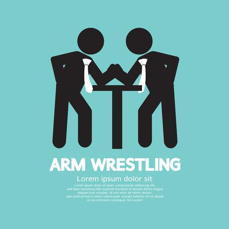 human arms: Businessman Arm Wrestling Symbol Vector Illustration