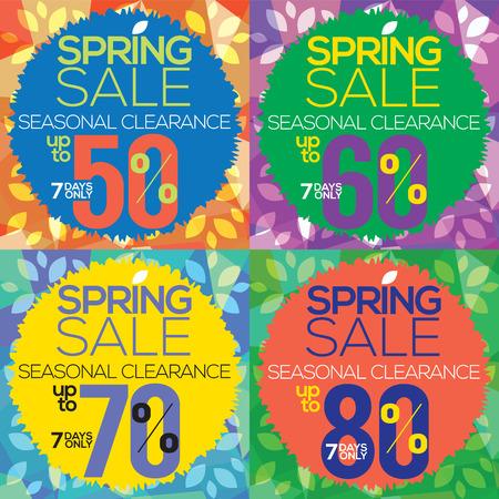 promo: Colorful Spring Sale Up to 50 Vector Illustration Illustration