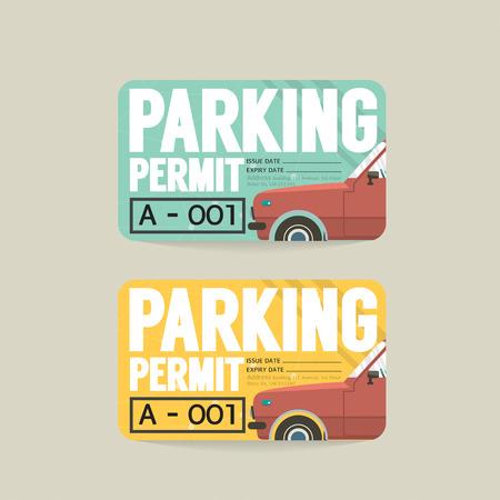 permit: Parking Permit Card Vector Illustration