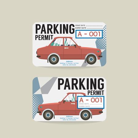 Parking Permit Card Vector Illustration