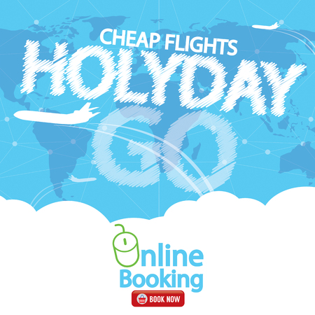 cheap: Cheap Flight For Sale  Banner Vector Illustration