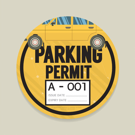 signage outdoor: Parking Permit Card Vector Illustration
