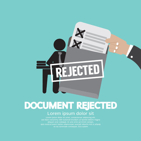 rejected: Document Rejected Vector Illustration