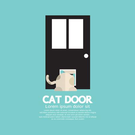 passing: Cat Passing Through The Door For Cat Vector Illustration