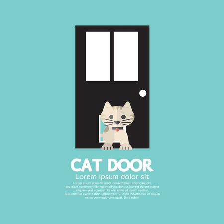 Cat Passing Through The Door For Cat Vector Illustration Vector Illustration