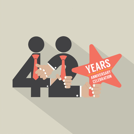 42nd: 42nd Years Anniversary Typography Design Vector Illustration Illustration