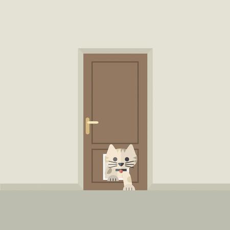 Gato Al pasar por la puerta para la ilustración del vector del gato