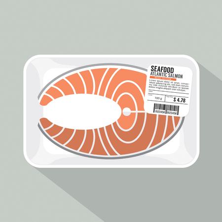 plastic wrap: Salmon Sliced Pack Vector Illustration