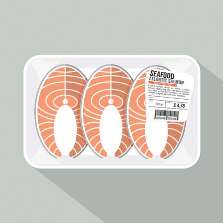 Salmon Sliced Pack Vector Illustration
