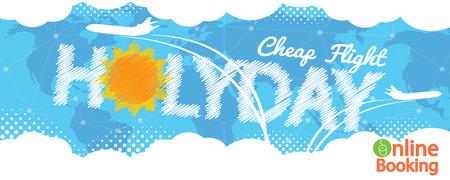 cheap: Cheap Flight For Sale 1500x600 Pixel Banner Vector Illustration