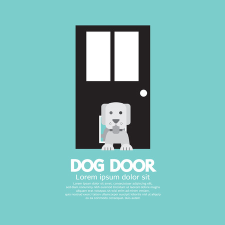 passing: Dog Passing Through The Door For Dog Vector Illustration