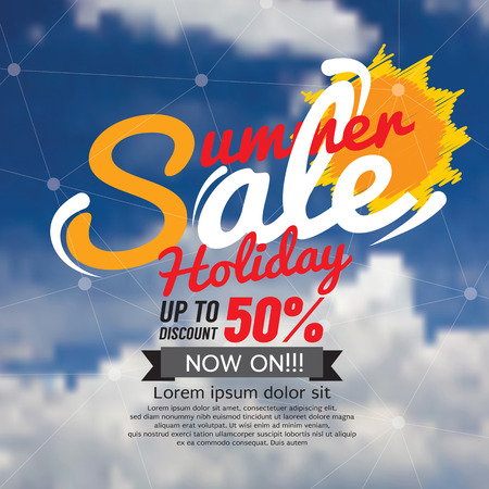 hot summer: Summer Sale Banner Vector Illustration