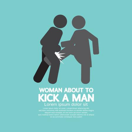 fighting: Woman Kick A Man Symbol Vector Illustration Illustration