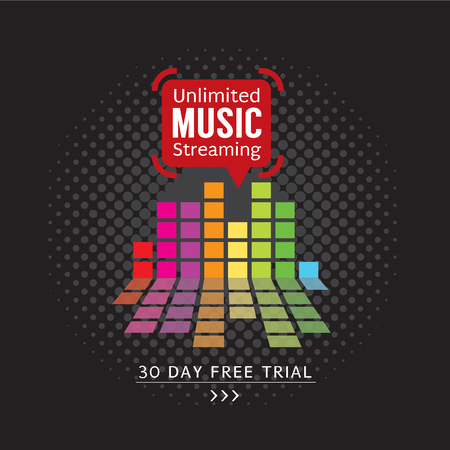 unlimited: Unlimited Music Streaming Vector Illustration