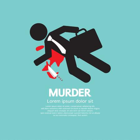 stabbed: Businessman Is Dead By Murder Vector Illustration Illustration