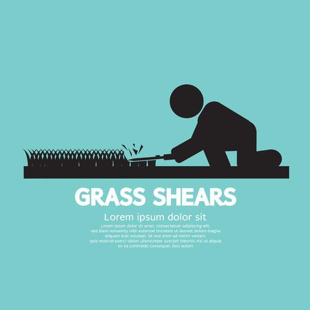 landscape gardener: Grass Shears Vector Illustration